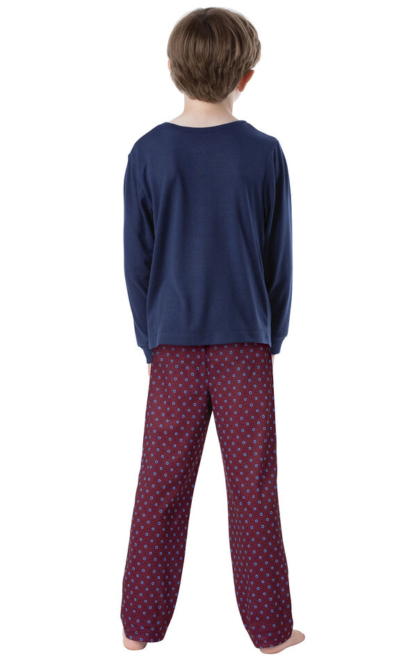 Model wearing Deep Red Print PJ for Youth, facing away from the camera image number 1