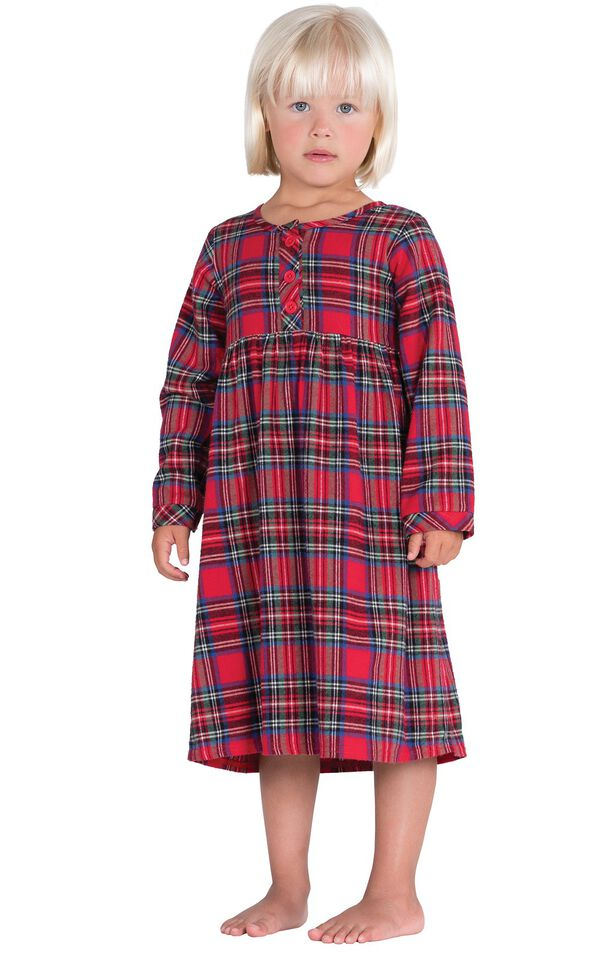 Model wearing Red Classic Plaid Gown for Toddlers image number 0