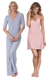 Models wearing Naturally Nude Pajamas - Blue and Naturally Nude Chemise - Pink.