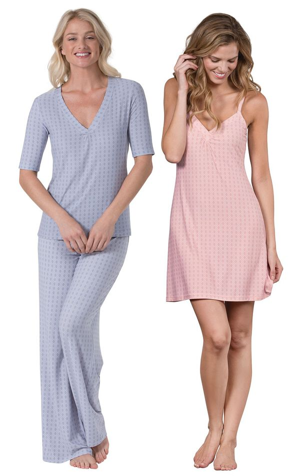 Models wearing Naturally Nude Pajamas - Blue and Naturally Nude Chemise - Pink. image number 0