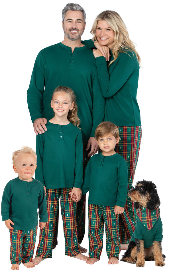 Models wearing Red and Green Christmas Tree Plaid Matching Family Pajamas image number 0