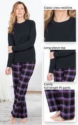 Close-ups of Modern Plaid Jersey-Top Flannel Pajamas Classic crew neckline, long-sleeve top and comfy full-length PJ pants image number 3