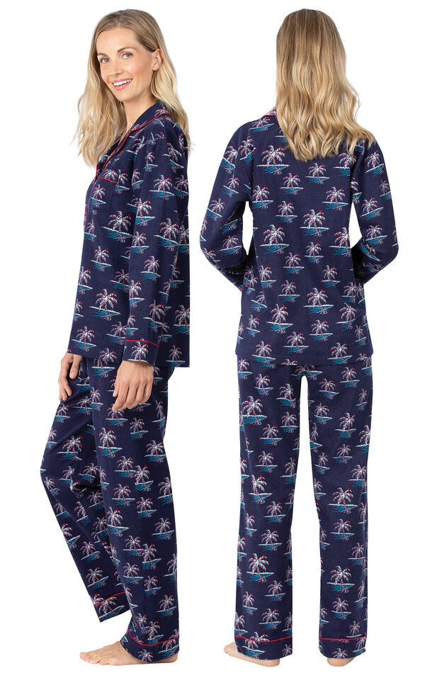 Model wearing Navy Blue Margaritaville Button-Front PJ for Women, facing away from the camera and then to the side image number 1