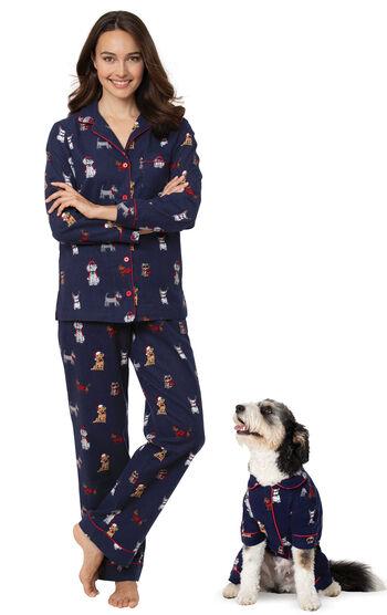 Christmas Dog Print Flannel Pajamas for Dog & Owner - Navy