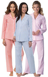 Models wearing Heart2Heart Gingham Boyfriend Pajamas in Coral, Periwinkle and Pink (3-pack) image number 0