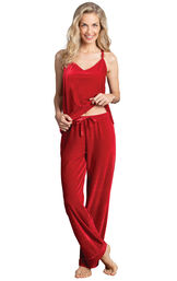 Model wearing Red Velour Cami PJ with Satin Trim for Women image number 0
