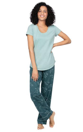 Short-Sleeve Jersey Pajamas - Green Floral Print