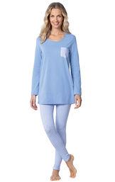 Model wearing Long Sleeve and Legging Pajamas - Light Blue image number 0