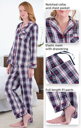 Close-ups of Snowfall Plaid Boyfriend PJs features which include a notched collar and chest pocket, elastic drawstring waist and full-length PJ pants image number 3