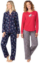 Models wearing Margaritaville Flannel Boyfriend Pajamas - Christmas Palm Trees and Margaritaville Island Time Pajamas - Sunny Snowman. image number 0