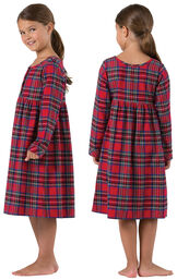 Girl wearing Red Classic Plaid Gown for Girls, facing away from the camera and then facing to the side image number 1