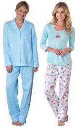 Models wearing Classic Polka-Dot Boyfriend Pajamas - Blue and Happy Birthday Pajamas.