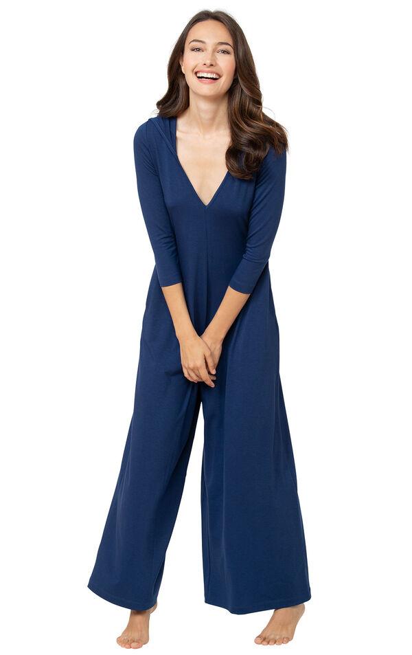 Model wearing Navy Blue Jumpsuit PJs for Women image number 0