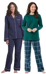 Models wearing Heritage Plaid Thermal-Top Pajamas and Classic Polka-Dot Pajamas - Navy.