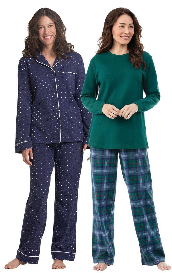 Models wearing Heritage Plaid Thermal-Top Pajamas and Classic Polka-Dot Pajamas - Navy. image number 0