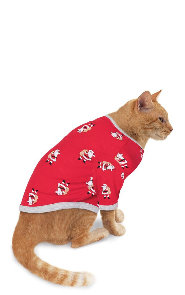 Model wearing Red and Gray Santa Print PJ for Cats image number 0