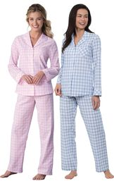 Models wearing Heart2Heart Gingham Boyfriend Pajamas - Periwinkle and Heart2Heart Gingham Boyfriend Pajamas - Pink.