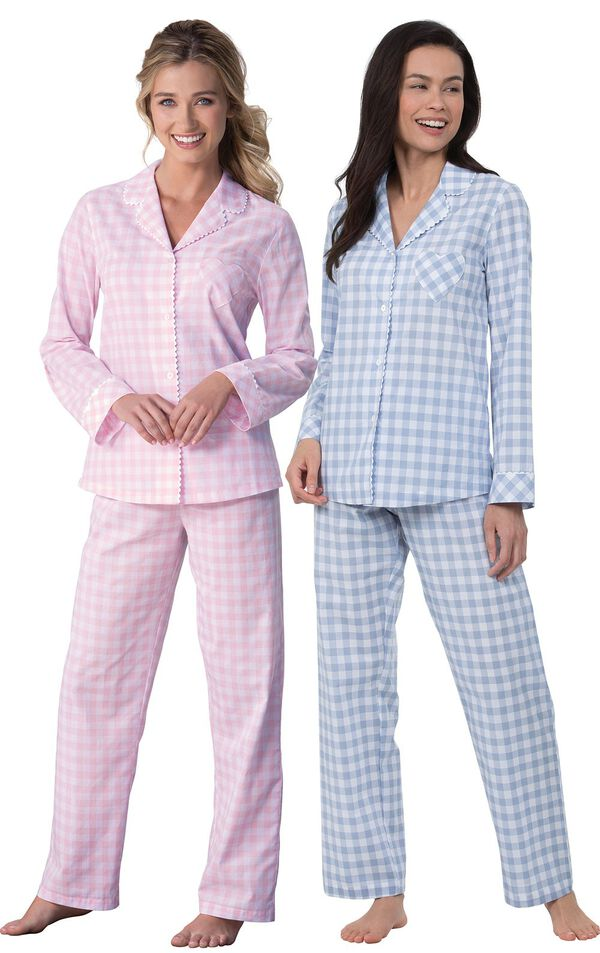 Models wearing Heart2Heart Gingham Boyfriend Pajamas - Periwinkle and Heart2Heart Gingham Boyfriend Pajamas - Pink. image number 0