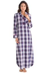 Model wearing Dark Blue Snowflake Plaid Gown for Women image number 0