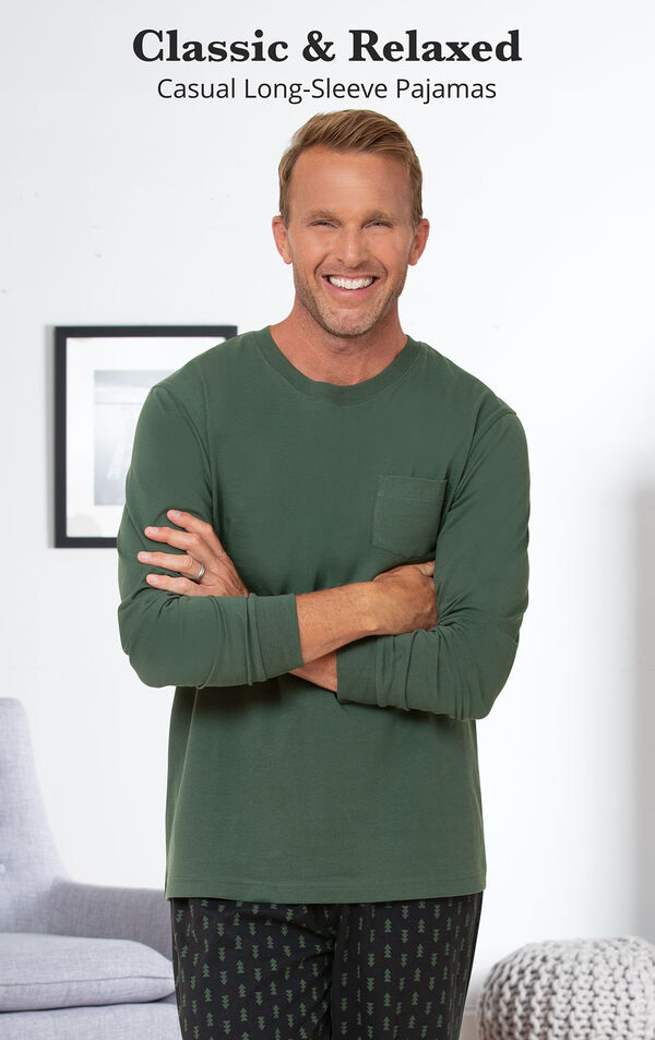 Jersey Long-Sleeve Men's Pajamas - Geometic Trees image number 2