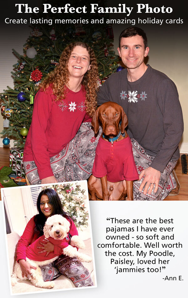 """Photos of customers and their pets wearing matching Nordic Pajamas. Customer Quote: """"These are the best pajamas I have ever owned - so soft and comfortable. Well worth the cost. My Poodle, Paisley, loved her jammies too!"""" - Ann E. image number 1"""