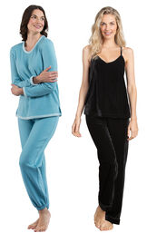 Models wearing World's Softest Jogger Pajamas - Teal and Velour Cami Pajamas - Black.