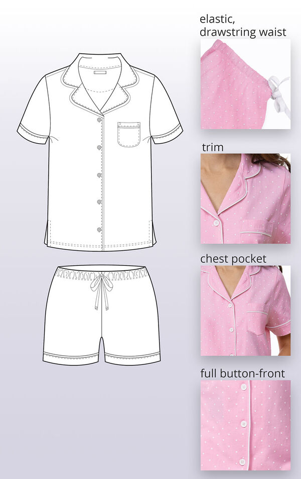 Close-ups of the features of Pink Polka Dot Short Set such as elastic, drawstring waist, trim, chest pocket and full button-front. image number 4
