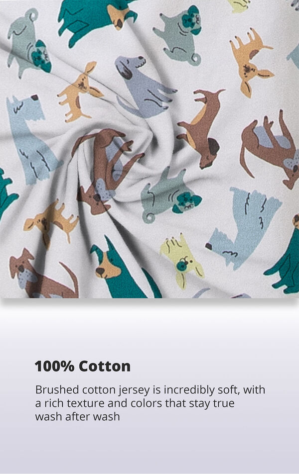 Dog print fabric with the following copy: Brushed 100% cotton jersey is incredibly soft, with a rich texture and colors that stay true wash after wash image number 3