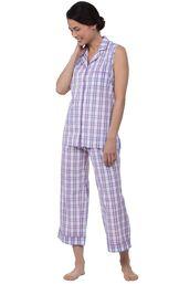 Model wearing Light Purple Plaid Capri PJ for Women image number 0