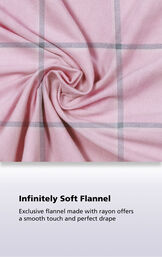 Pink World's Softest fabric with the following copy: Exclusive flannel made with rayon offers a smooth touch and perfect drape image number 5