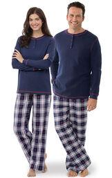 Models wearing Dark Blue Snowflake Plaid Thermal Top PJ for Him and Her image number 0
