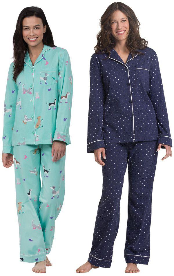 Models wearing Doggy Dreams Boyfriend Pajamas and Classic Polka-Dot Boyfriend Pajamas - Navy. image number 0