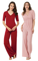 Red and Pink Naturally Nude PJs Gift Set