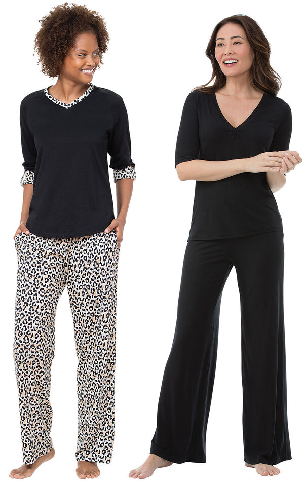 Black Luxurious Leopard Print PJs and Naturally Nude PJs image number 0