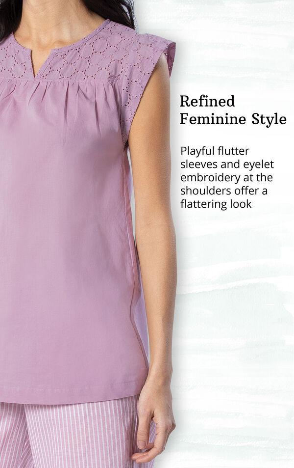 Mauve Stripe Flutter Sleeve Capri PJ for Women image number 3