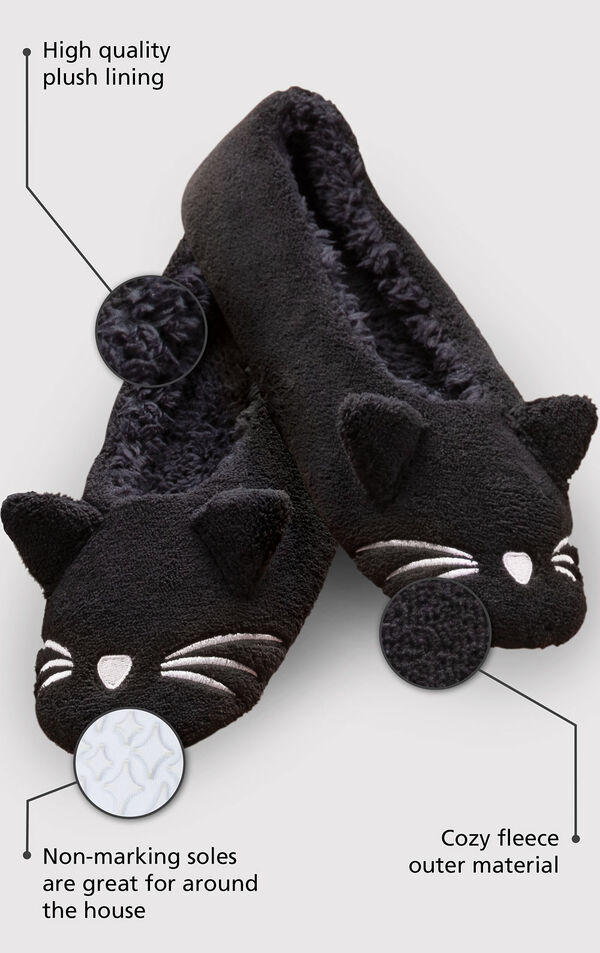Black Kitty Slippers with pop-up ears and an embroidered white nose and whiskers with the following copy: High quality plush lining, non-marking soles are great for around the house, cozy fleece outer material image number 1