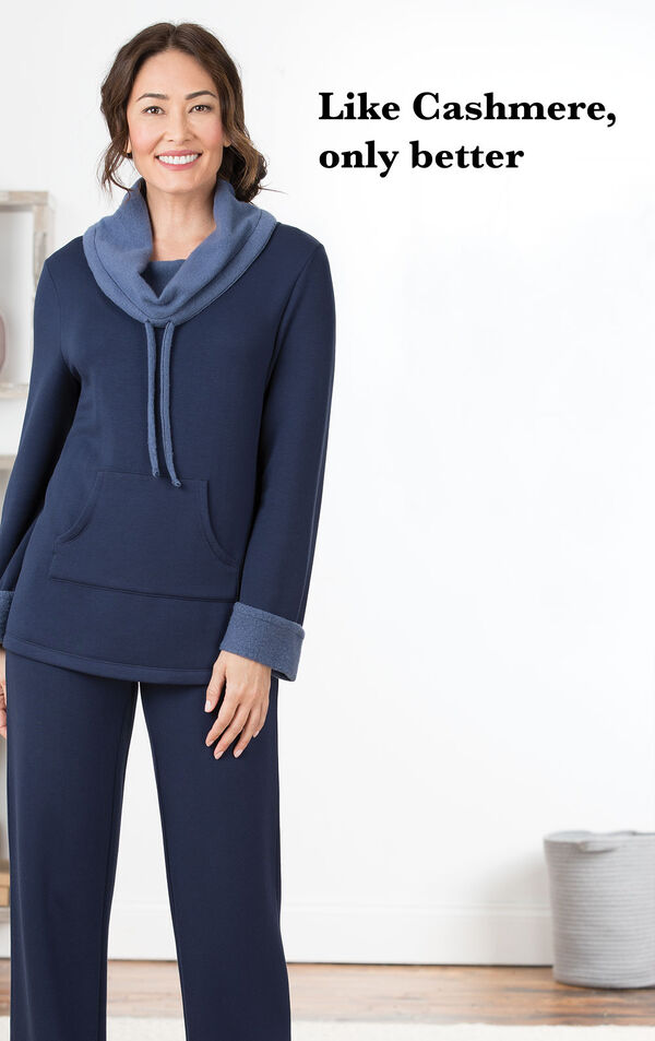 Model wearing Navy Blue World's Softest Pajamas with the following copy: Like Cashmere, only better image number 2
