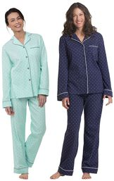 Models wearing Classic Polka-Dot Boyfriend Pajamas - Mint and Classic Polka-Dot Boyfriend Pajamas - Navy. image number 0