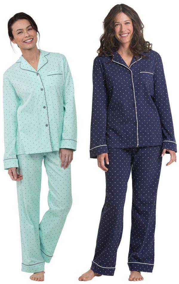 Models wearing Classic Polka-Dot Boyfriend Pajamas - Mint and Classic Polka-Dot Boyfriend Pajamas - Navy.