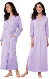 Models wearing Classic Polka-Dot Nighty - Lavender and Classic Polka-Dot Robe - Lavender. image number 0