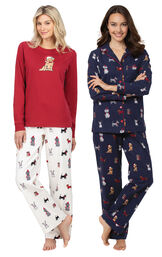 Navy Christmas Dogs Boyfriend PJs and Red Christmas Dog PJs image number 0