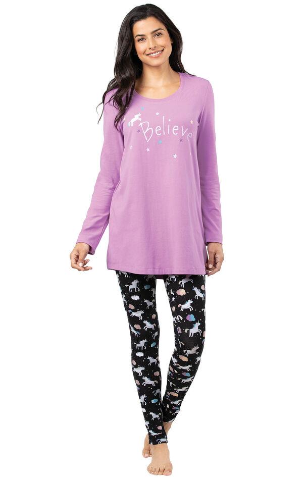 Model wearing Long Sleeve and Legging Pajamas - Unicorn image number 0