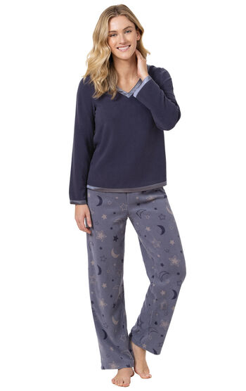 Snuggle Fleece Pajamas - Moon and Stars Navy
