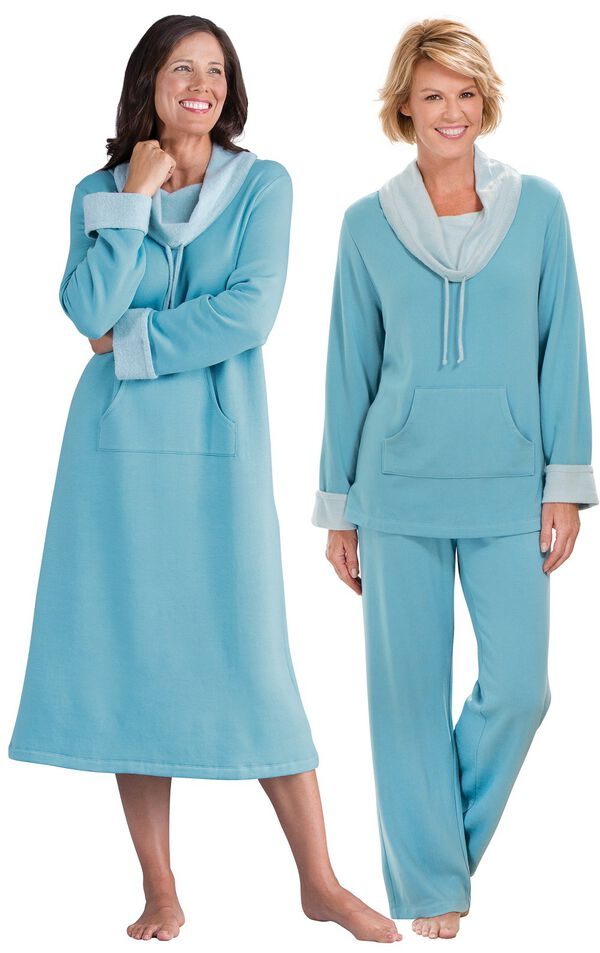 Models wearing World's Softest Nighty -Teal and World's Softest Pajamas - Teal. image number 0