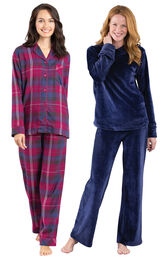 Models wearing World's Softest Flannel Boyfriend Pajamas - Black Cherry Plaid and Tempting Touch PJs - Midnight Blue. image number 0