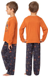 Model wearing Navy Blue Gator PJ with Graphic Tee for Youth, facing away from the camera and then facing towards the side image number 1