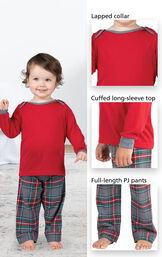 Close-ups of Gray Plaid Infant PJ features which include a lapped collar, cuffed long-sleeve top and full-length PJ pants image number 3