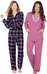 Models wearing Blackberry Plaid Boyfriend Flannel Pajamas and World's Softest Pajamas - Raspberry. image number 0
