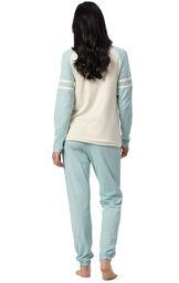 Model wearing Sunday Funday Pajamas - Aqua, facing away from the camera image number 1