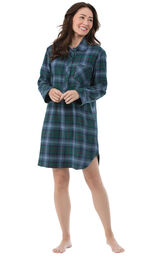 Model wearing Green and Blue Plaid Sleepshirt for Women image number 1